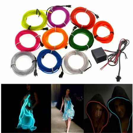 3M 10 Colors Flexible EL Wire Neon Glow Light +3V/12V Controller