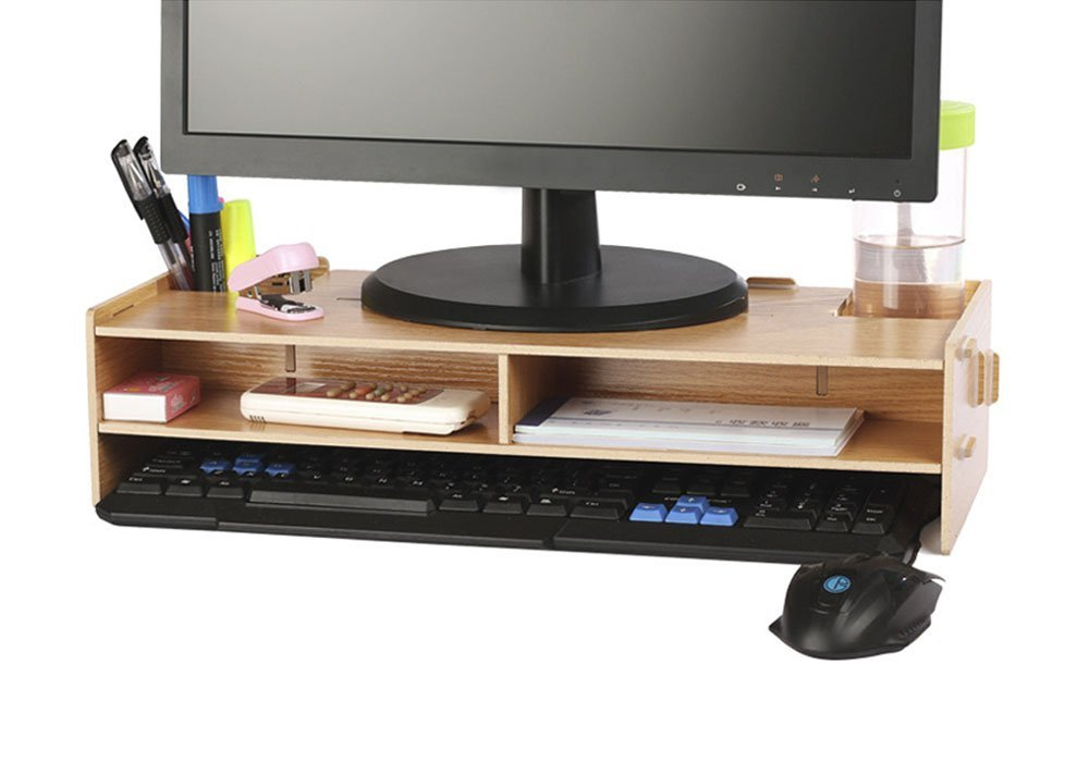 Azlife Desktop Monitor Stand Wooden Riser Tv With Slots For Office Supplies And Storage Space Keyboard Mouse Wide Screen
