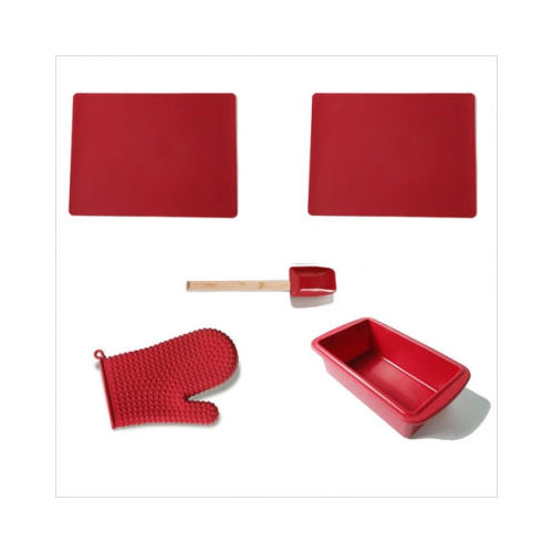 Bundle-47 Silicone Solutions  Burgundy Bakeware / Utensil Set (10 Pieces)