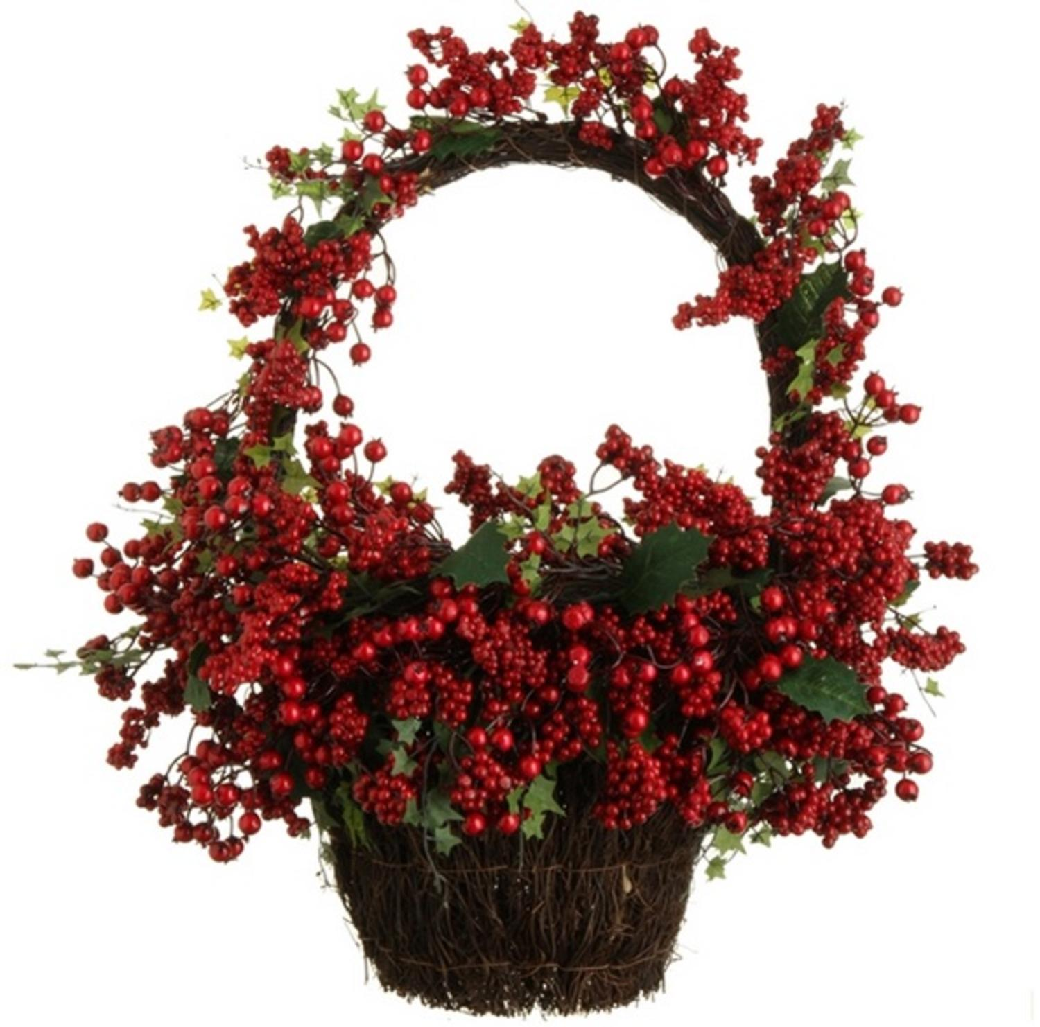 "22"" Country Rustic Red Rosehip Berries and Vines Decorative Christmas Wall Basket"