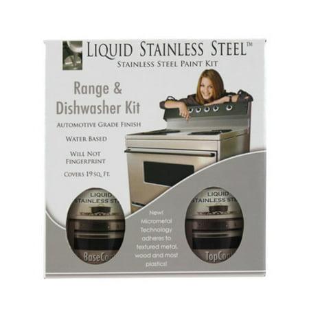 liquid stainless steel range and dishwasher makeover paint kit. Black Bedroom Furniture Sets. Home Design Ideas