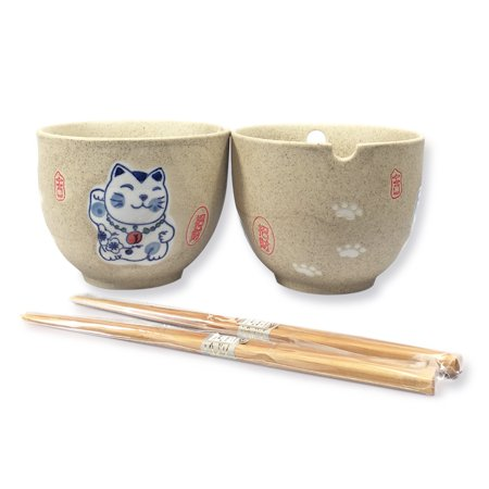 Set of 2 Lucky Cat Ceramic Bowls Set Quality Japanese Dinnerware Porcelain Soup Noodle Rice Bowls w Wooden Chopsticks Utensils CB50 F15683