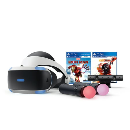 PlayStation VR Iron Man and Star Wars Bundle, PS4 & 5 Compatible: VR Headset, Camera, Move Motion Controllers, Iron Man, Star Wars: Squadrons and Mytrix Microfiber Cleaning Cloths