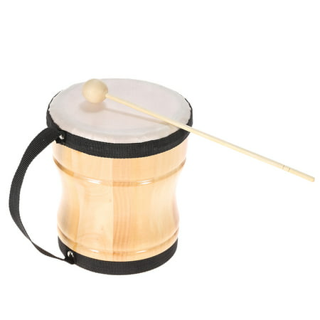 Kids Children Wood Hand Bongo Drum Musical Toy Percussion Instrument with Stick Strap