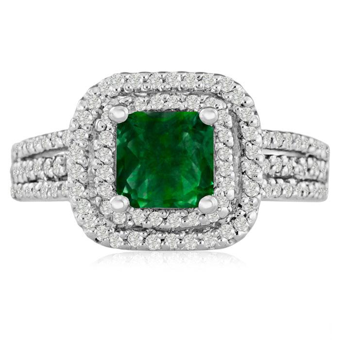 SuperJeweler 1 2/3ct Princess Cut Double Halo Emerald and...