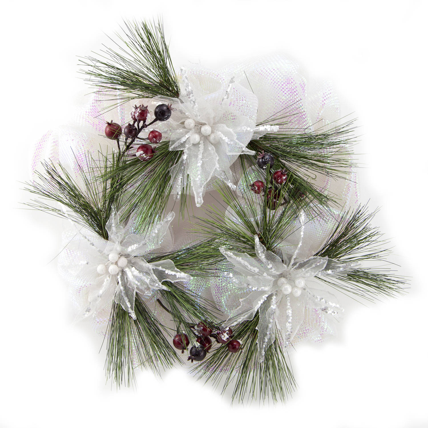 "Holiday Time Christmas Decor 20"" White Mesh Wreath with Poinsettia Accents"