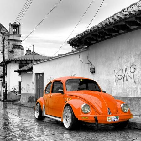 ¡Viva Mexico! Square Collection - Orange VW Beetle Car in San Cristobal de Las Casas Print Wall Art By Philippe Hugonnard - Decorar Casa De Halloween