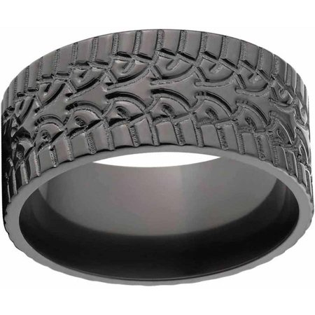 custom mens tire tread ring black zirconium wedding band with comfort fit design