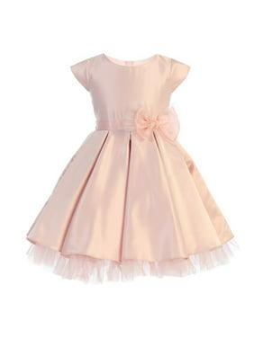 Girls Pink Full Pleated Satin Oversized Bow Easter Dress
