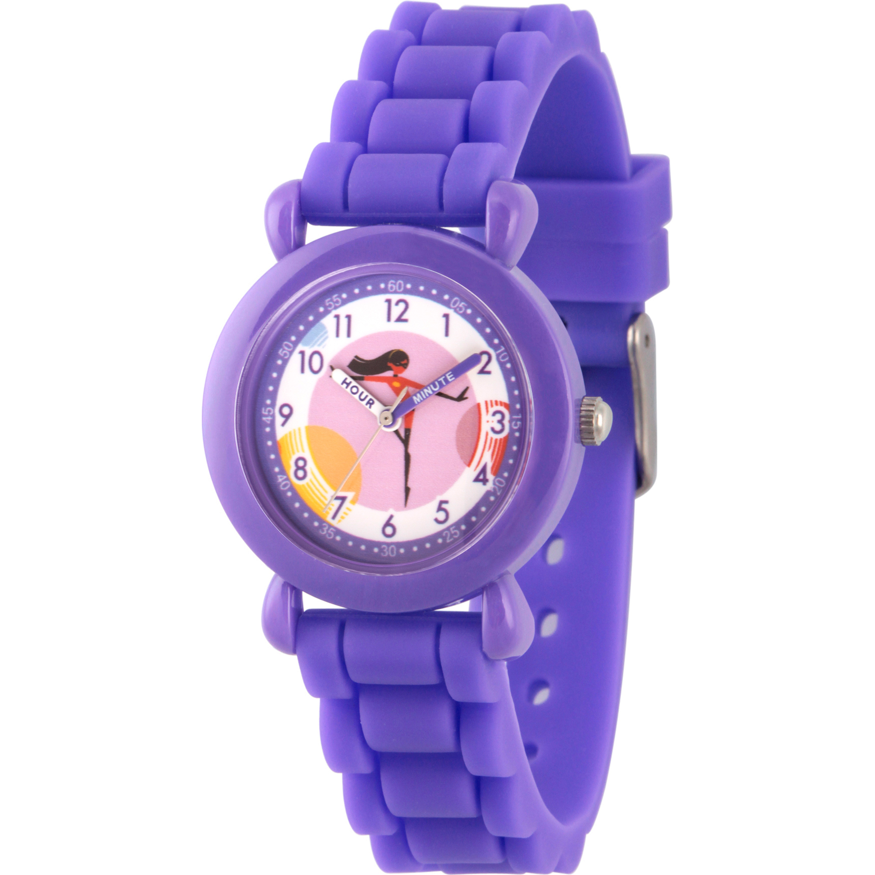 Incredibles Violet Parr Girls' Purple Plastic Time Teacher Watch, Purple Silicone Strap