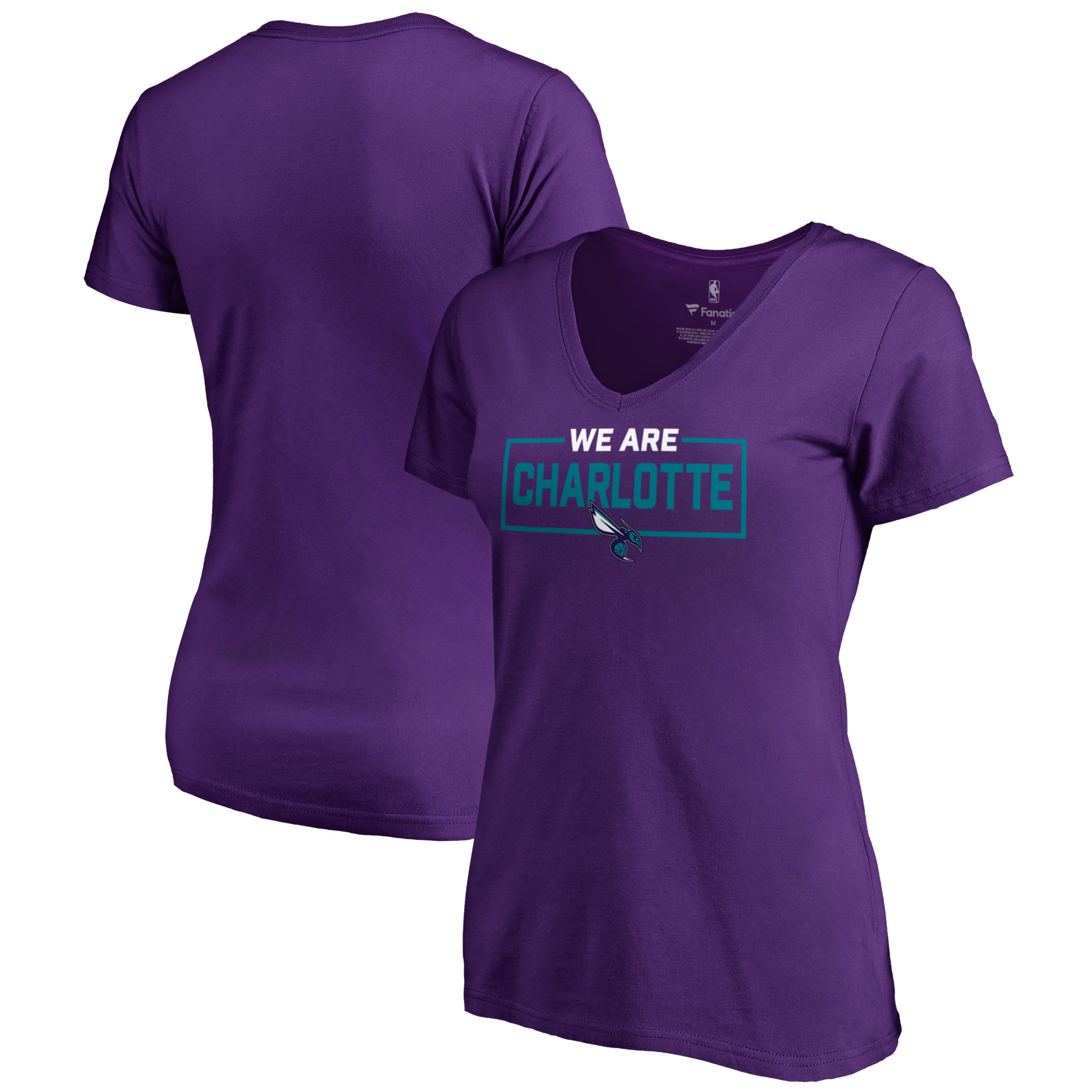 Charlotte Hornets Fanatics Branded Women's We Are Iconic Collection V-Neck T-Shirt - Purple