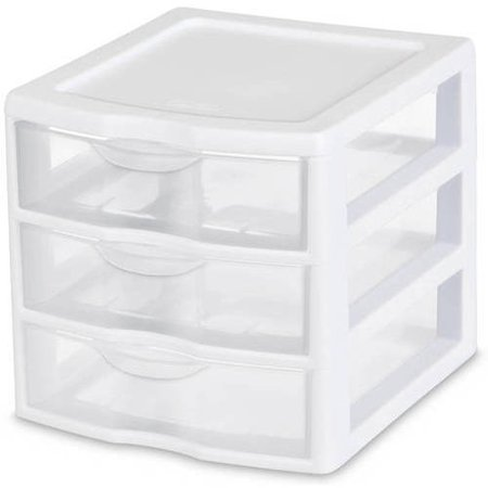 Sterilite, Small 3 Drawer Unit, White, Clear Drawers