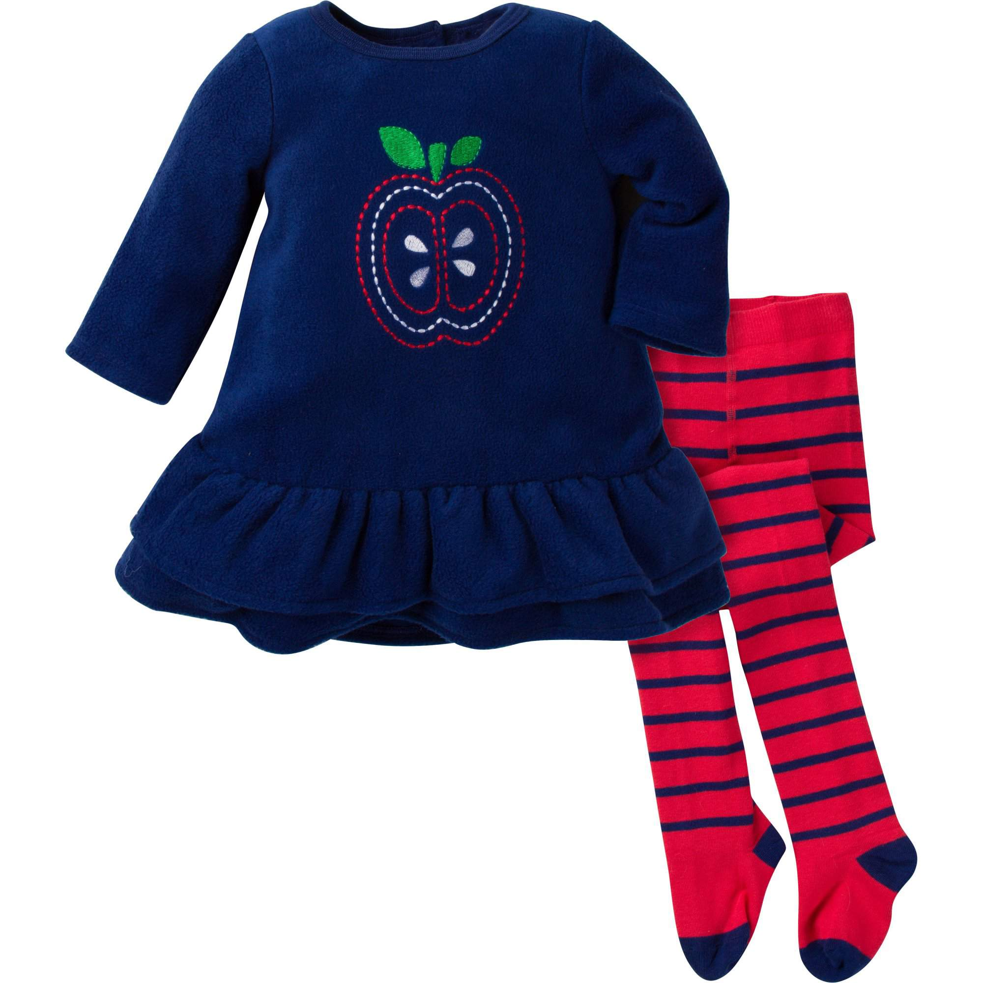 Gerber Baby Toddler Girl Fleece Dress with Tights 2pc Outfit Set