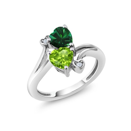 1.54 Ct Heart Shape Green Simulated Emerald Green Peridot 925 Sterling Silver Ring