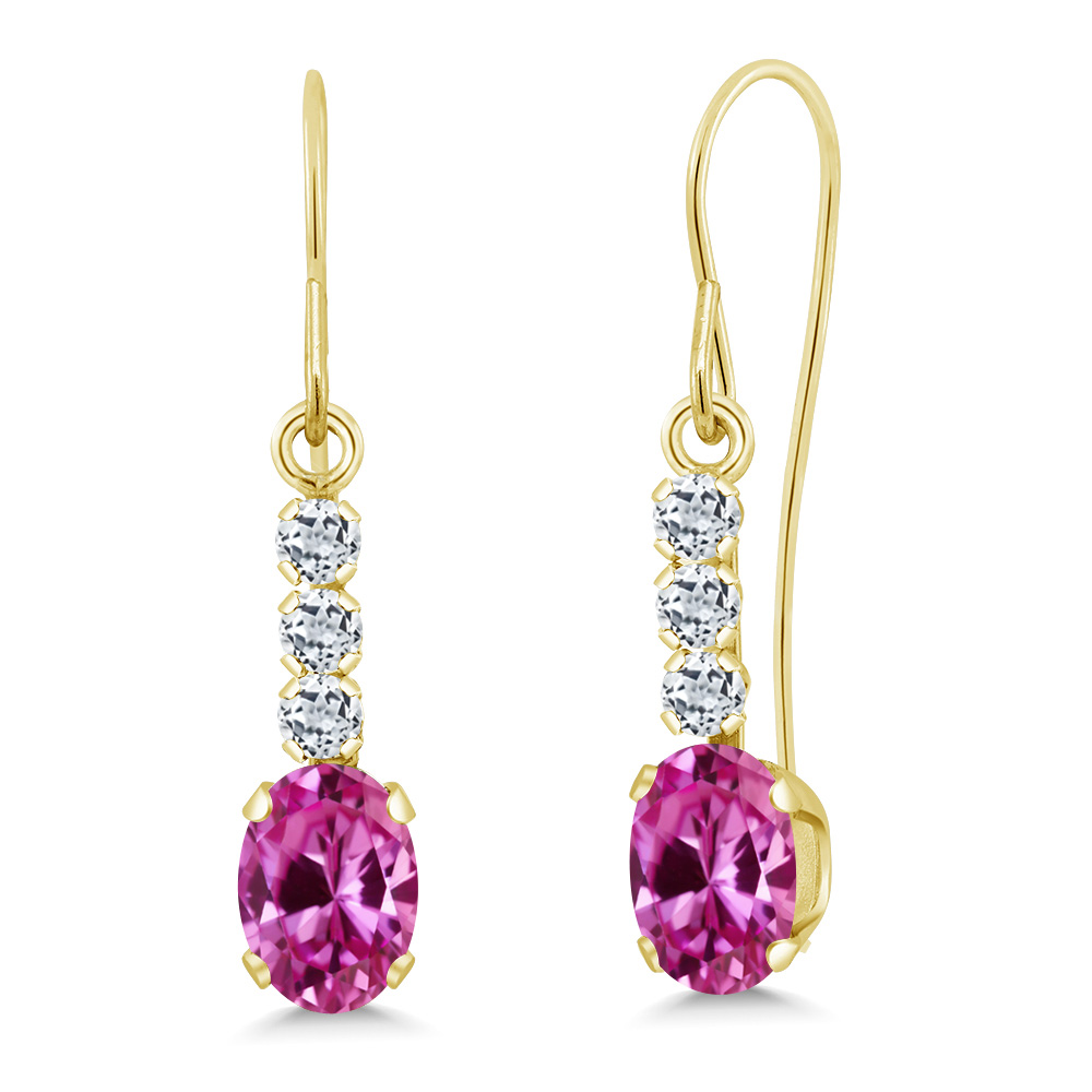 1.44 Ct Oval Pink Created Sapphire White Topaz 10K Yellow Gold Earrings by