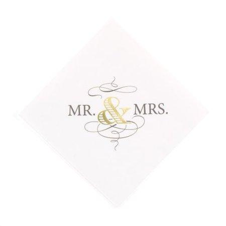 HBH Wedding Golden Elegance Napkins - Beverage (Personalized Wedding Napkins)