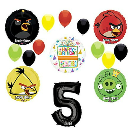 Angry Birds Party Supplies 5th Birthday Balloon Bouquet - Angry Birds Party Ideas