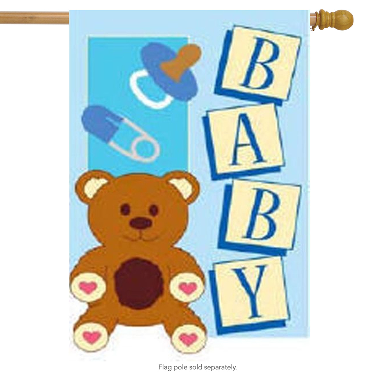 It's A Baby Boy Applique Decorative Large House Flag