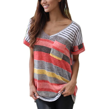 Ombre Striped Shirt (OUMY Women Striped Plus Size T Shirt Tops S-5XL )