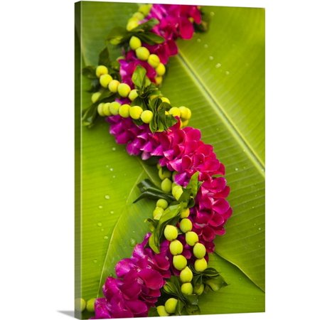 Great BIG Canvas Dana Edmunds Premium Thick-Wrap Canvas entitled Hawaii, Oahu, Orchid Lei On Banana