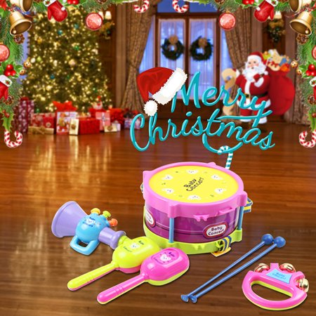 Christmas Drum.5pcs Christmas Gif For Children Baby Roll Drum Musical Instruments Band Kit Novelty Children Toy Baby Kids Toddler Gift Christmas Holiday Festival