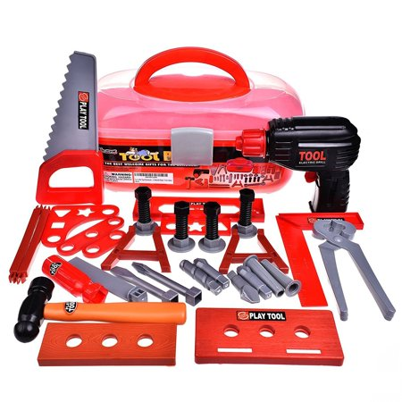 Kids Tool Sets Workshop Construction Box Kits for Kids Educational Toys Pretend Role Play Set for Children Hammer Wrench Power Tools Electric Drill 36 PCs - Construction Set Toys