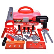 Kids Tool Sets Workshop Construction Box Kits for Kids Educational Toys Pretend Role Play Set for Children Hammer Wrench Power Tools Electric Drill 36 PCs F-19