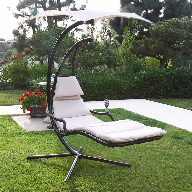 patio swing chair lounger hammock sun canopy beige hammocks   walmart    rh   walmart