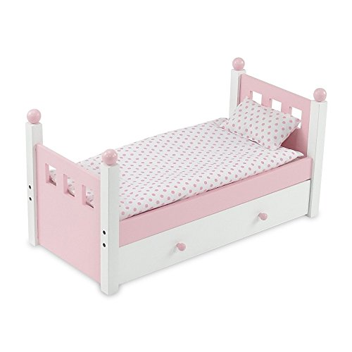 18 Inch Doll Furniture | Lovely Pink and White Single Trundle Bed, Includes Thick, Plush Polka Dot Bedding |... by Emily Rose Doll Clothes