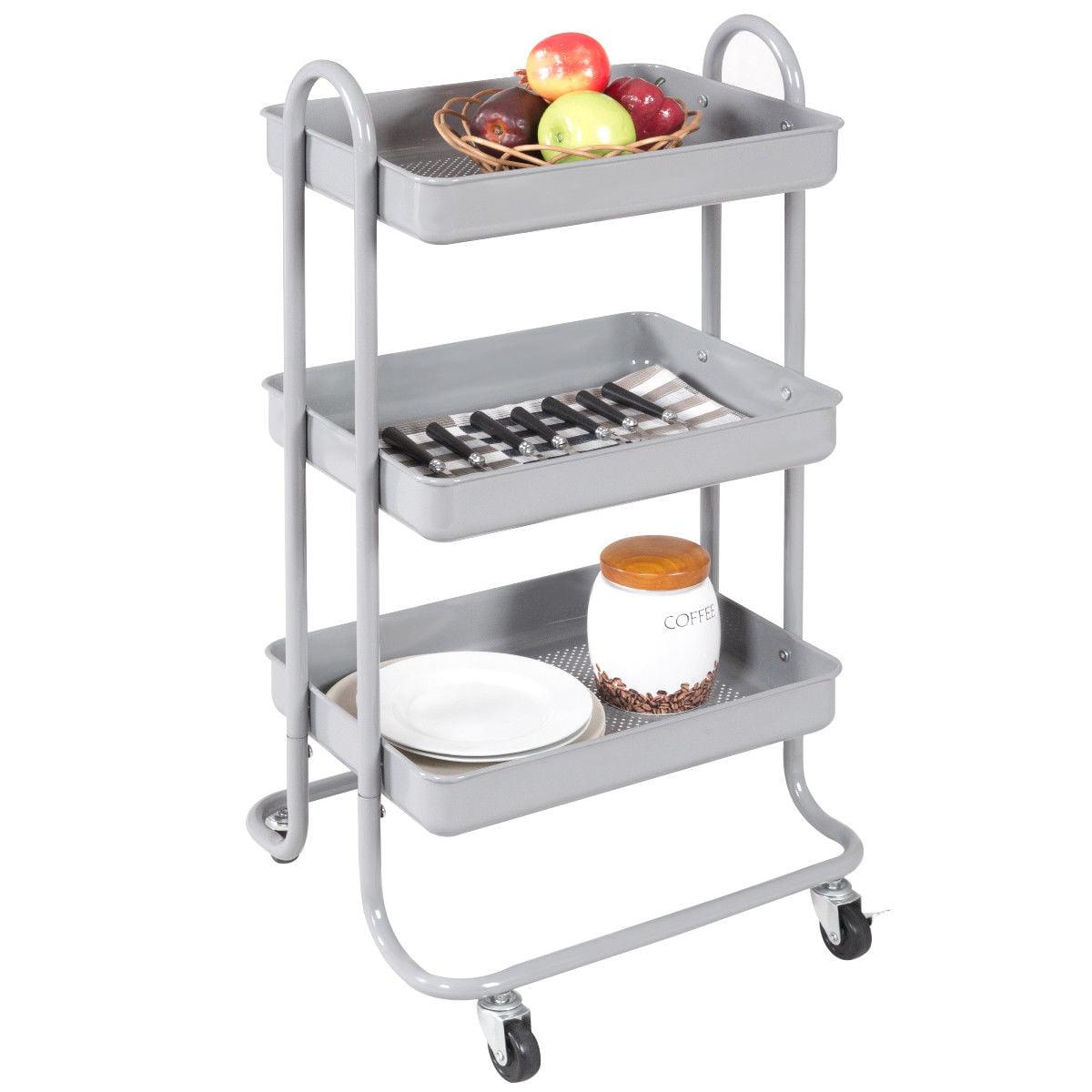 Costway 3-Tier Steel Rolling Kitchen Trolley Cart Storage Serving ...
