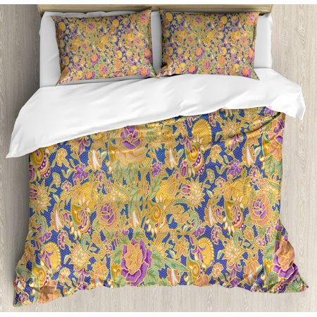 Asian Queen Size Duvet Cover Set, Graphic Image of an Indonesian Batik Style Pattern with Flowers Traditional Vintage, Decorative 3 Piece Bedding Set with 2 Pillow Shams, Multicolor, by Ambesonne ()