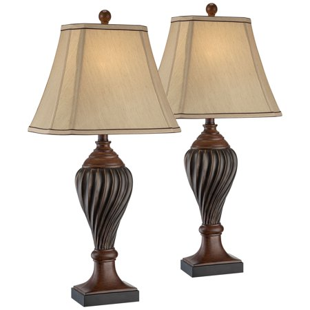 Regency Hill Traditional Table Lamps Set of 2 Carved Two Tone Brown Urn Beige Rectangular Shade for Living Room Family Bedroom