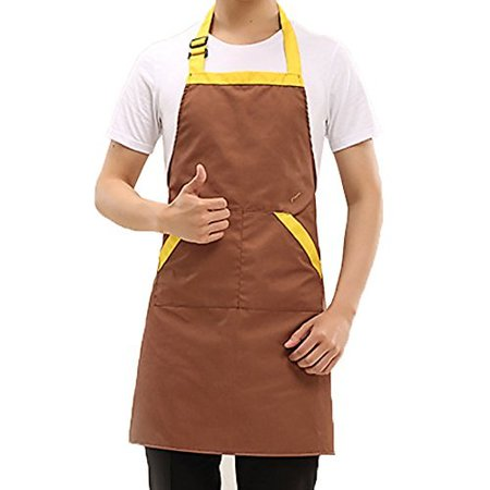 Novo Waterproof Work Chef Apron Polyester Cotton With Pockets Garden Tool Apron, 28-Inchx26-Inch (Brown) for Working,Gardening,Kicthen Cooking,Harvest,Coffee Shop