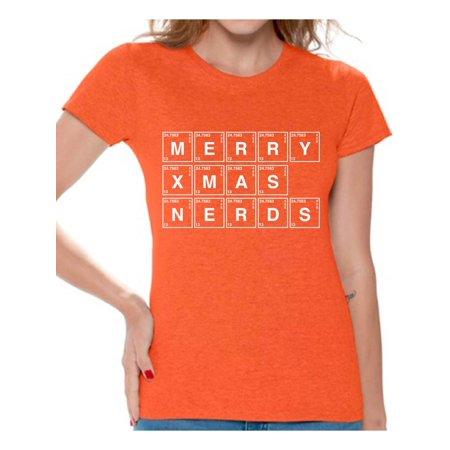 Nerd Themed Party Outfit (Awkward Styles Merry Xmas Nerds Tshirt Christmas Periodic Table Shirt Xmas Elements Tshirt Ugly Christmas T Shirt for Women Funny Xmas Chemistry Gifts Geeky Christmas T-Shirt Xmas Party)