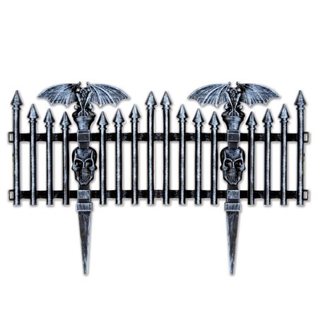 Club Pack of 12 Halloween Decorative Plastic Gothic Fence Decoration - Gothic Halloween Decorations