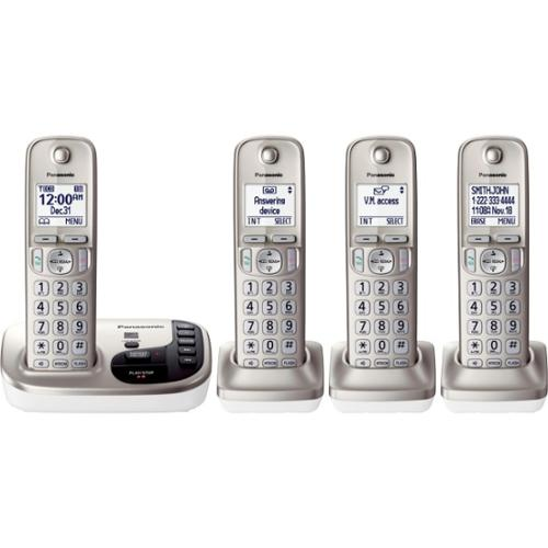Panasonic KX-TGD224N Expandable Cordless Phone w/ Talking Caller ID & 4 Handsets