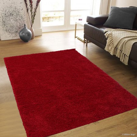 - Allstar Modern Contemporary Red High Pile Posh and Shaggy Solid Area Rug (7' 9