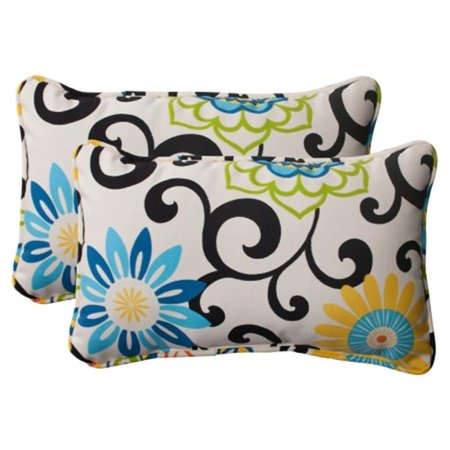 Pillow Perfect 495729 Pom Pom Play Lagoon Rectangular Throw Pillow (Set of 2)