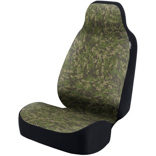 Coverking Universal Seat Cover Fashion Print, Ultra Suede, Camo Digital Jungle with Black Interlock Backing