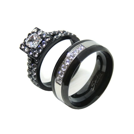 01239fae89c His Hers Couple Rings Set Womens Princess Square CZ Engagement Ring Mens 7  CZ Wedding Band- Size W7M13