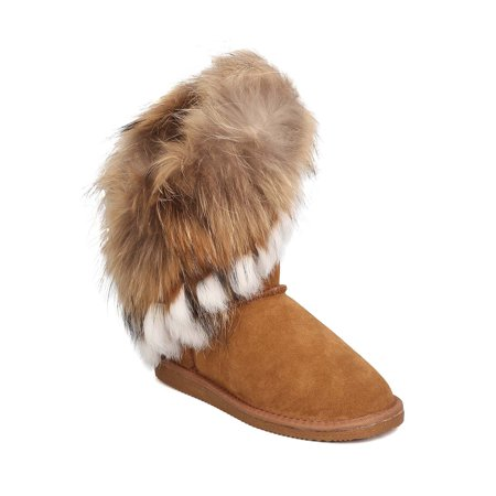 efdd1f86e6a Cape Robbin - Women Genuine Suede and Fur Slanted Shaft Winter Boot ...