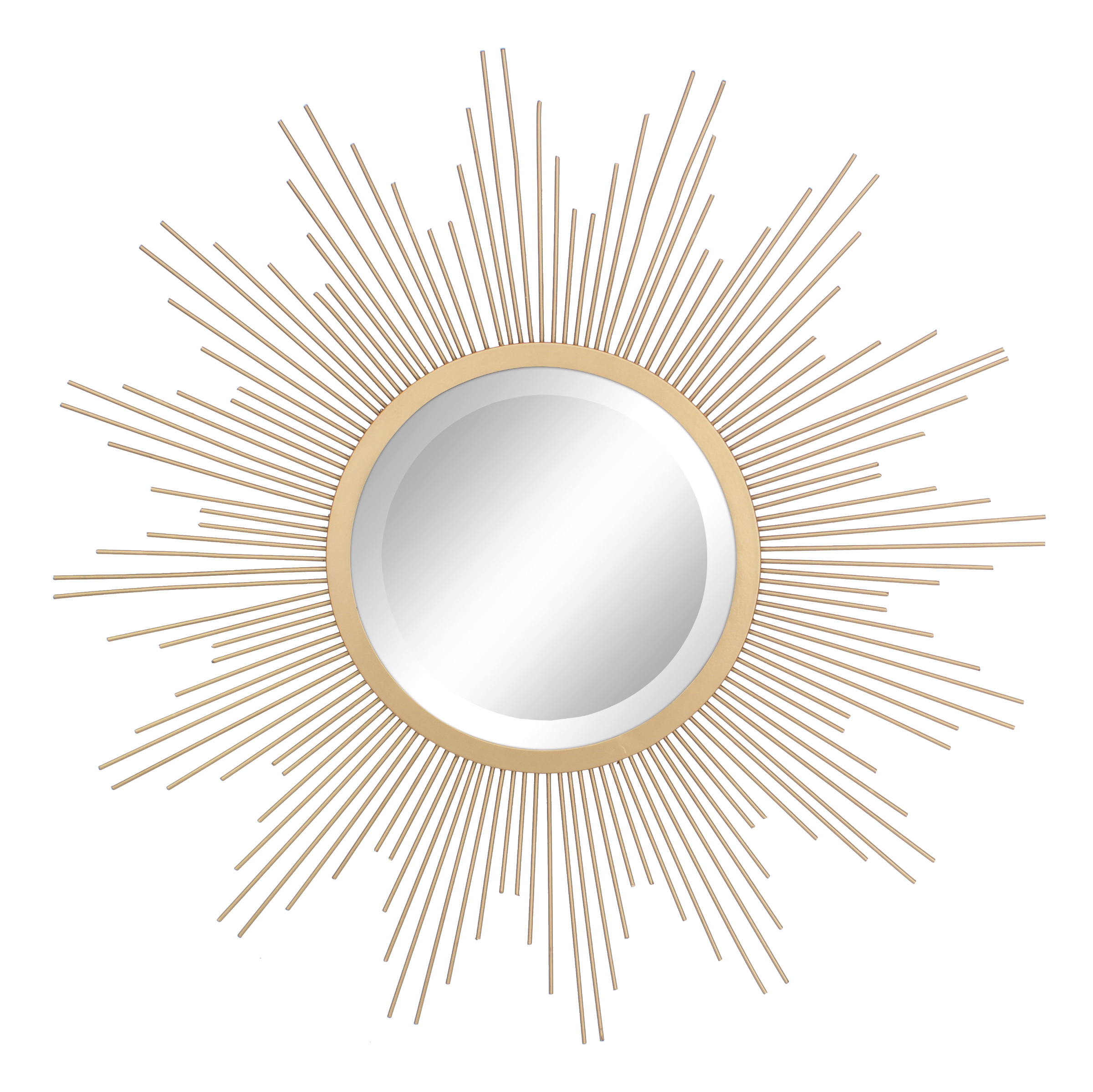 "Stonebriar Round Decorative Antique Gold 24"" Metal Starburst Hanging Mirror for Wall with Attached Mounting Brackets"