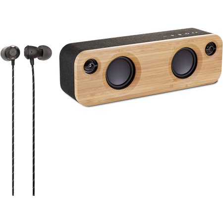 House Of Marley EM-JA013-SB Mini Get Together Bluetooth Portable Audio System and House Of Marley EM-FE033 Nesta In-Ear Headphones with Microphone
