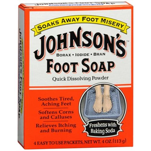 JOHNSON'S Foot Soap Powder Packets 4 Each (Pack of 2)