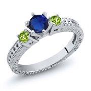 0.84 Ct Round Blue Simulated Sapphire Green Peridot 18K White Gold 3-Stone Ring