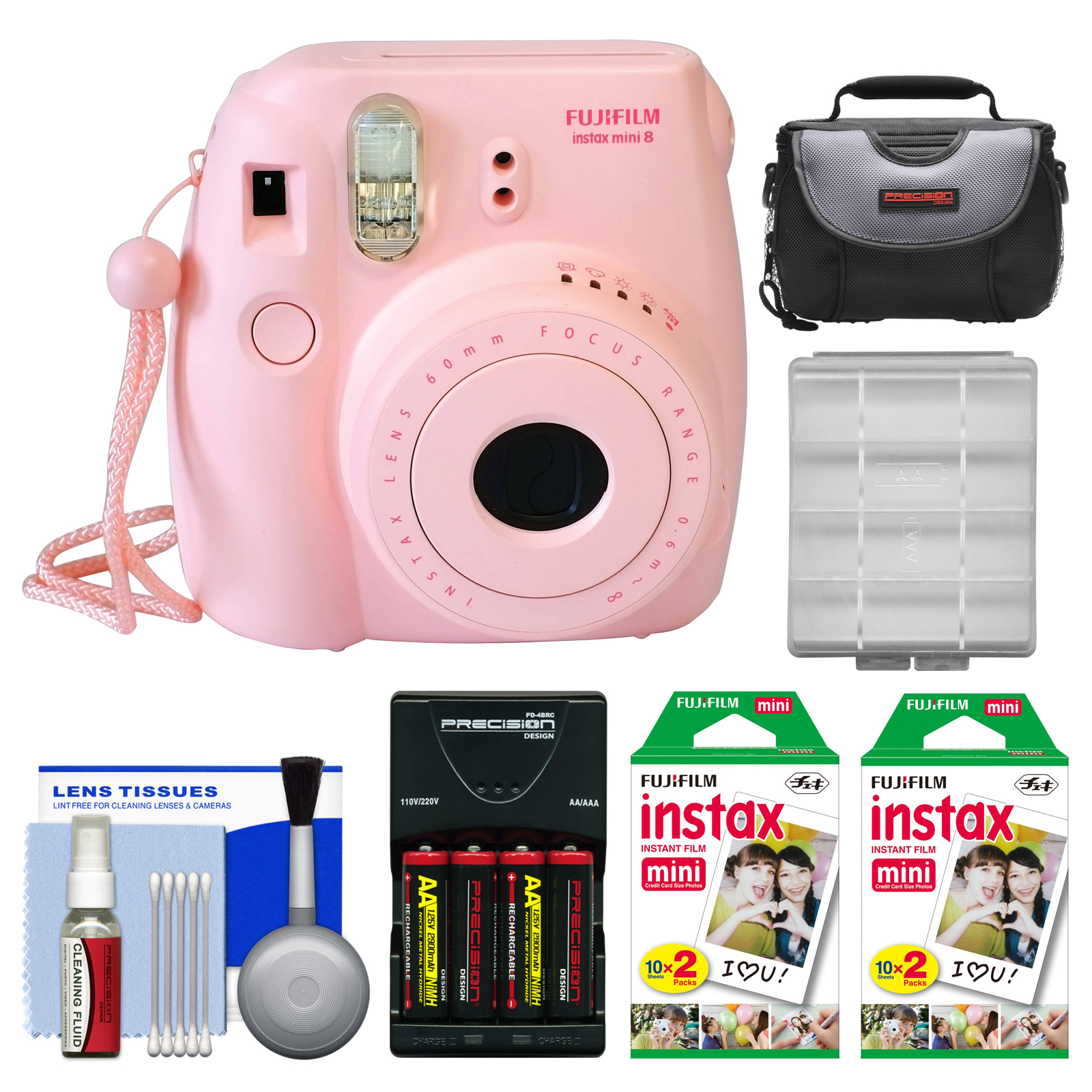Fujifilm Instax Mini 8 Instant Film Camera (Pink) with 40 Instant Film + Case + Batteries & Charger + Kit