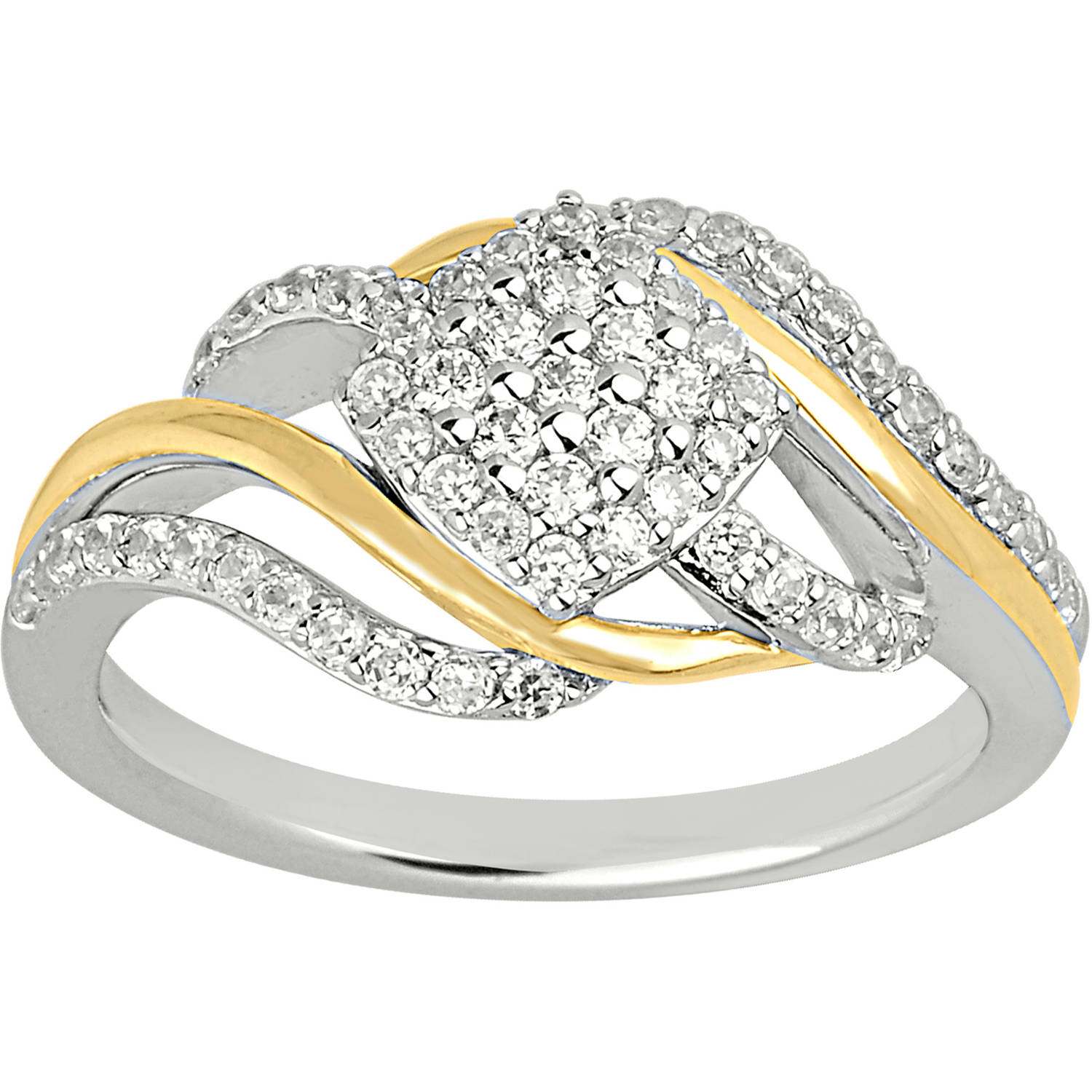 1/2 Carat T.W. Diamond 10kt Two-Tone By-Pass Silhouette Ring