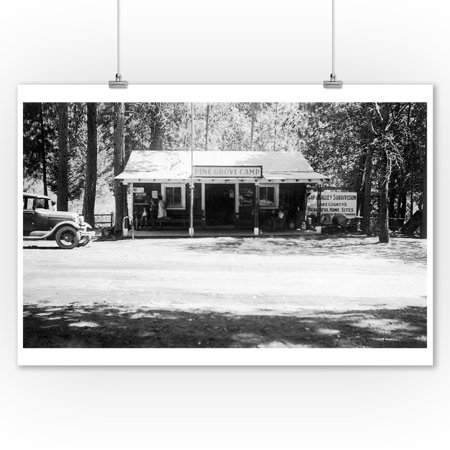 Pine Grove, California - Exterior View of Pine Grove Camp (9x12 Art Print, Wall Decor Travel Poster)