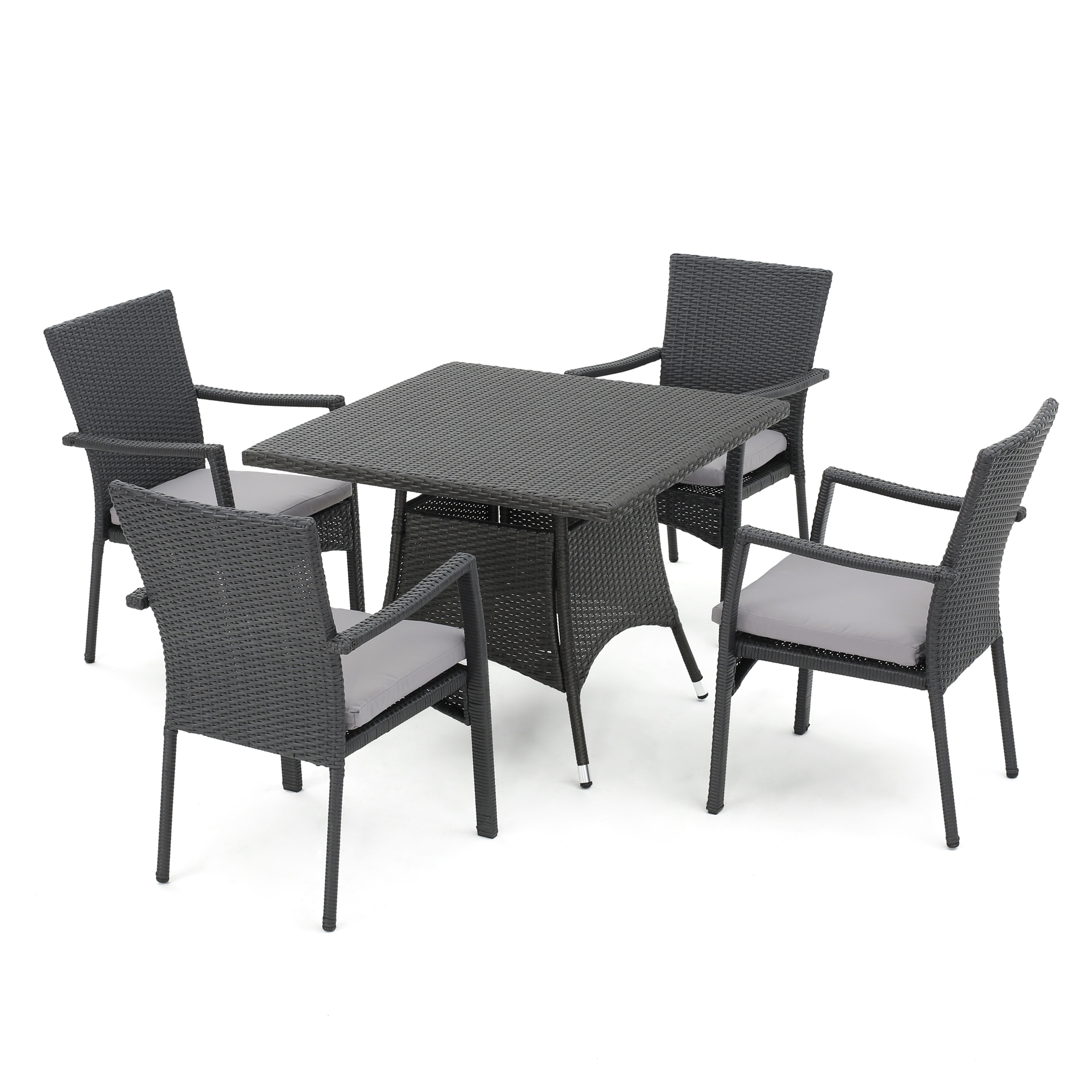 Cabella Outdoor 5-Piece Wicker Dining Set with Cushions, Grey