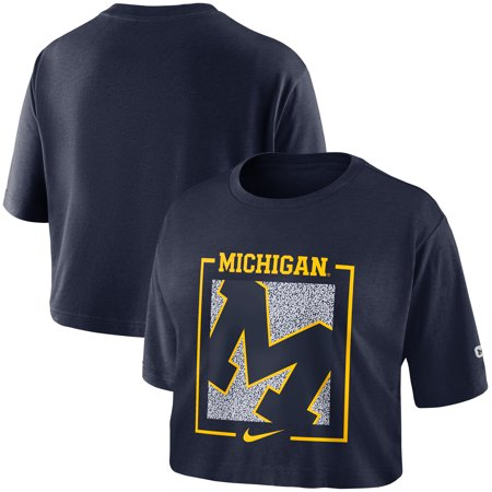 Michigan Wolverines Nike Women's Performance Crop Top T-Shirt - Navy (Nike Air Max Tailwind 7 Woman)